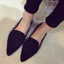 ГОРЯЧАЯ Весна Модный бренд Ботинок квартир Женщин Женщина Мокасины Заклепки Леопарда Обувь Острым Носом Поскользнуться на Оксфорды Женщины Zapatos Mujer