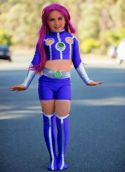 Kids Starfire Cosplay Superhero Costume Spandex Zentai Suit Top and Shorts Halloween Costume for Kids