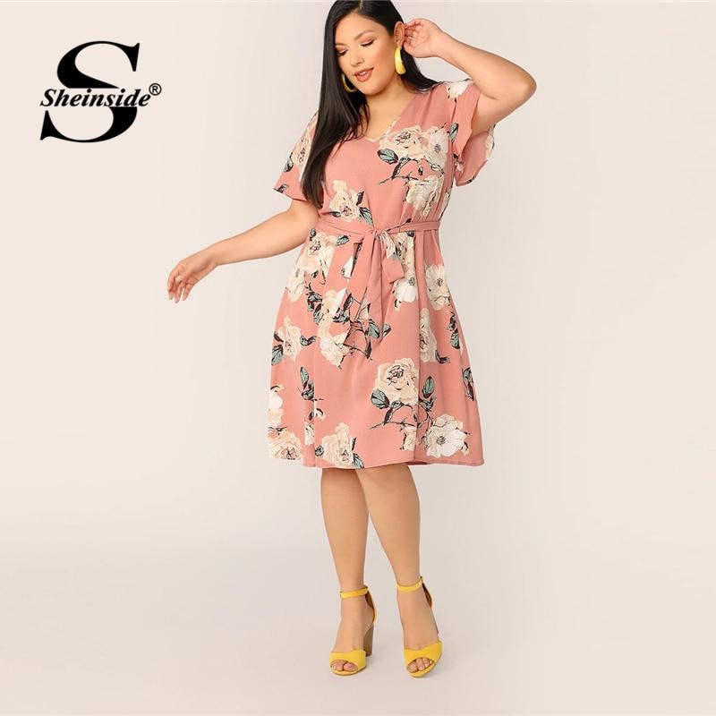 Sheinside Plus Size Floral Print A Line Dress Women 2019 ...
