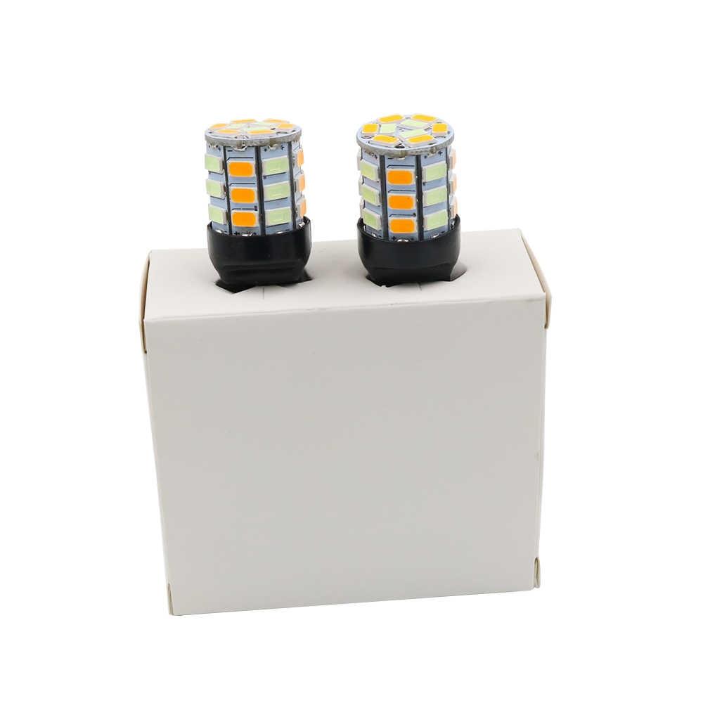 YSY 2 cái Băng Màu Xanh/Màu Hổ Phách S25 P21W 1156 BA15S T20 7440 5630 33 SMD LED 33SMD Màu Kép switchback Bật Tín Hiệu Ánh Sáng Cừu