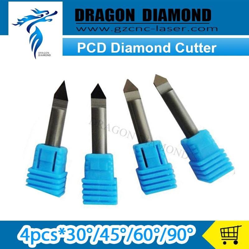 Free Shipping 4pcs 30/45/60/90 degree 6mm PCD Bit TIP D 0.2 CNC Diamond Engraving Bit Router Bit