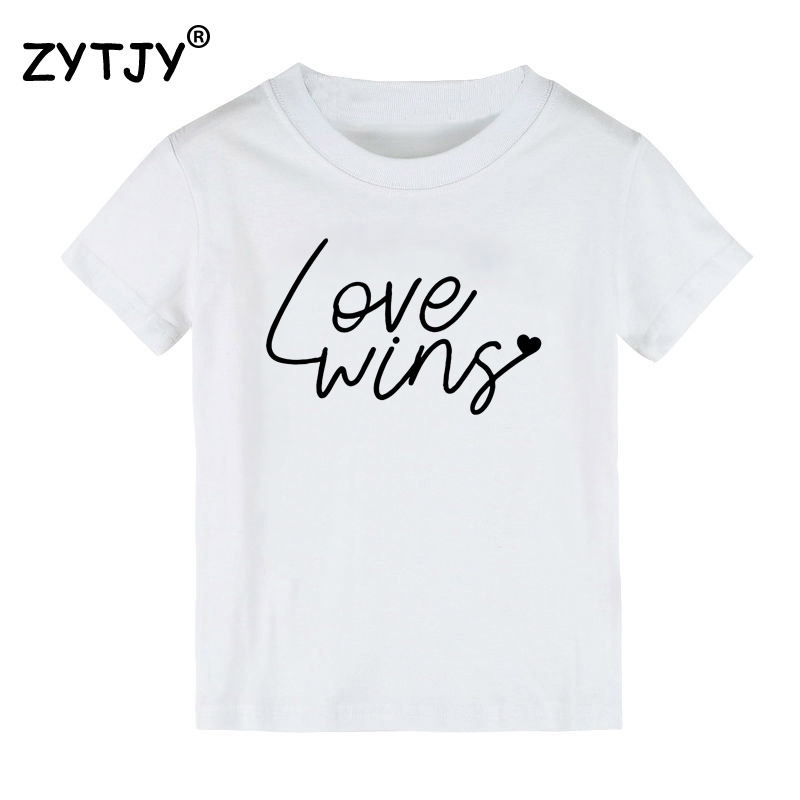 Love Wins Print Kids tshirt Boy Girl t shirt For Children Toddler Clothes Funny Tumblr Top Tees Drop Ship CZ-16 image