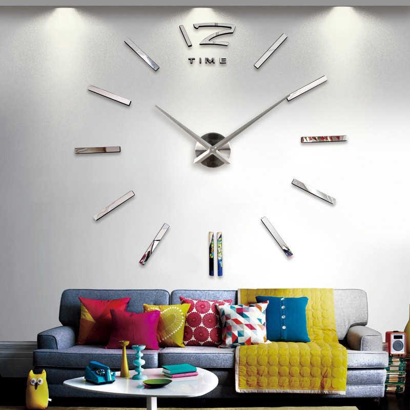 2020 yeni varış kuvars saatler moda saatler 3D gerçek büyük duvar saati koştu ayna sticker DIY oturma odası dekor ücretsiz kargo