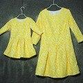 Семьи сопоставления одежда мать и dauhther плиссированные платья большой плюс размер печати миди-юбка кусок набор детей девушки женщины платья