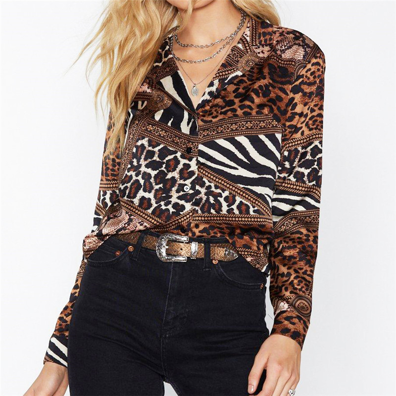 Leopard   Blouse   2019 Casual Women Tops Leisure   Blouse     Shirt   Vintage Long Sleeve   Shirt   Turn Down Collar Chemisier Femme Plus Size