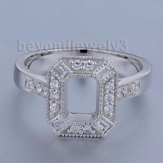 Wedding Jewelry Emerald Cut 5x7mm 18Kt White Gold Brilliant Dia Semi-Mount Ring WU237B