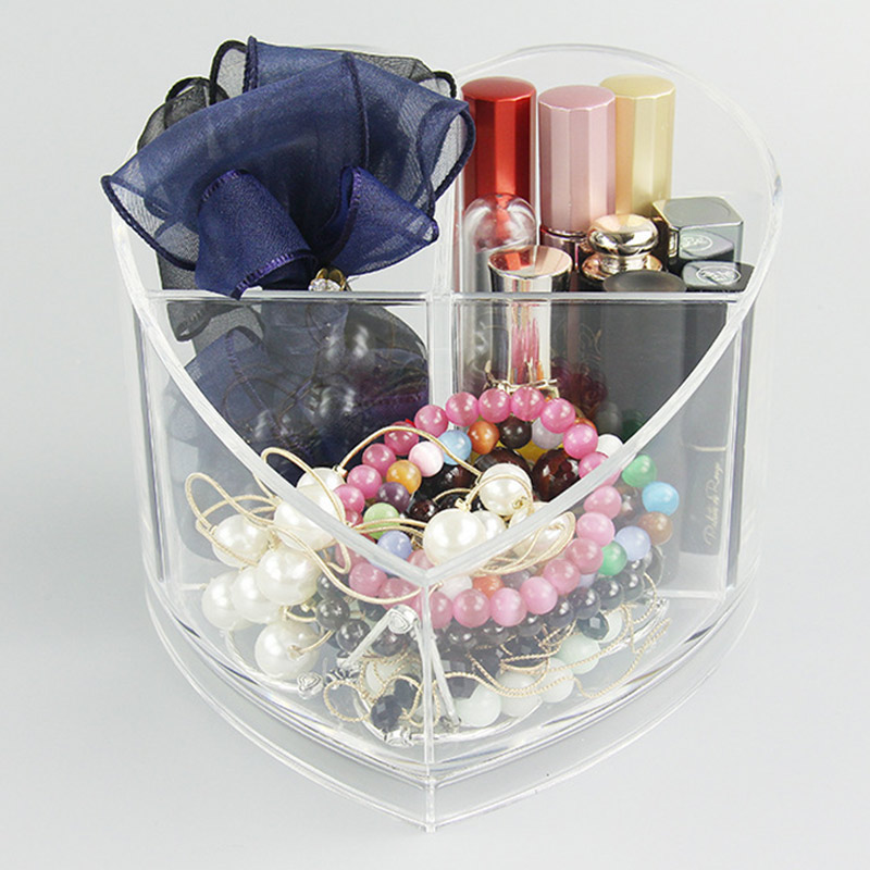 Desktop Storage Box Acrylic Heart-shaped Makeup Organizer Rack Jewelry Holder HS11