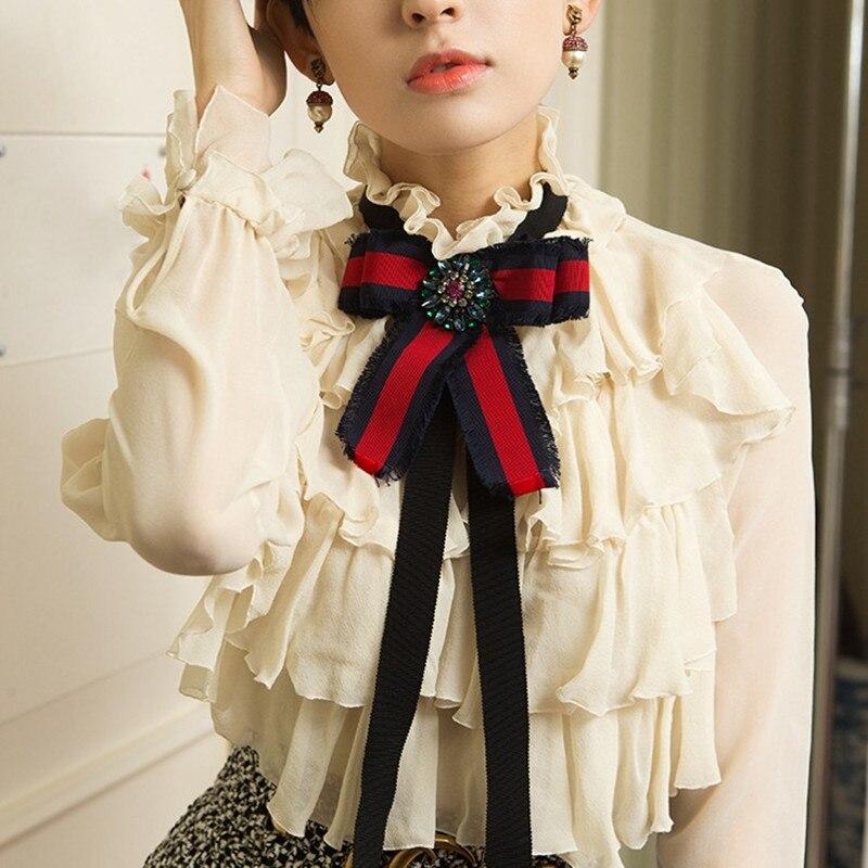 GG Spring Summer Fashion Runway Women Chiffon Blouses Long Sleeve Stand Collar Bow Ruffles lady Shirts Blusas feminina