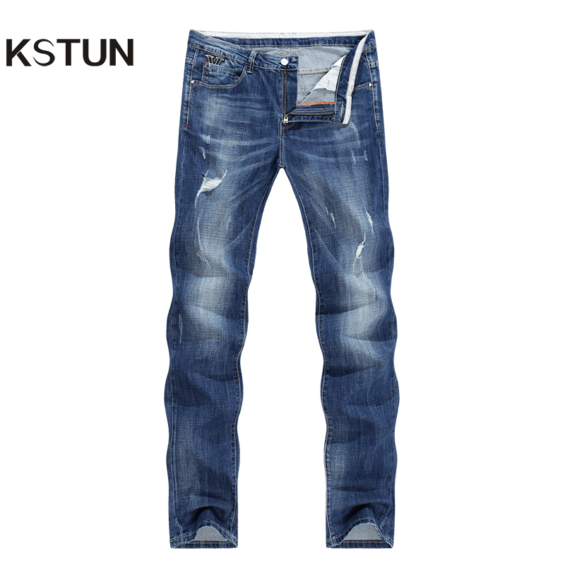 KSTUN Men Fashion Biker   Jeans   New Design destroyed Man Rip   Jean   Slim Straight Hip hop Stretch Blue Casual Denim Pants Joggers 38
