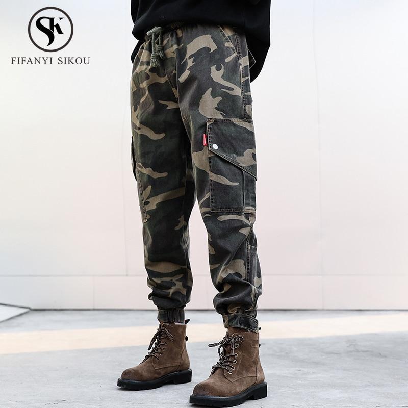 Black camouflage Pantalones Harajuku Bolsillo Camuflaje Moda Color Streetwear Sueltos Para Cargo De Mujer Talla Cordón Grande 6qSOrwx6aW
