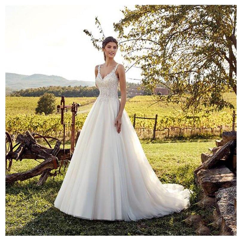 Свадебное платье Smileven, белое кружевное платье цвета слоновой кости, Длинные свадебные платья невесты с двойным плечом и v образным вырезом,