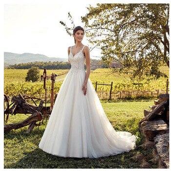 Smileven White Ivory Lace Wedding Dress 2019 Long Bride Dresses Double Shoulder V Neck Wedding Bridal Gowns 2019