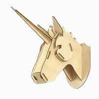 3D Wooden Unicorn Head Wall Hanging Assembly Jigsaw Puzzle Kit Plywood Animal Head For Home Decor MDF Crafts Art Wall Decoration
