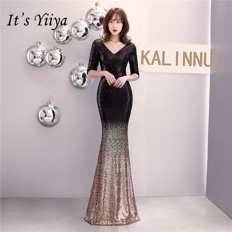 It's Yiiya Sequined Prom Dress Zipper Back Mermaid Long Party Gowns Sexy V-neck Half Sleeve Shinny Trumpet Evening Dresses C079
