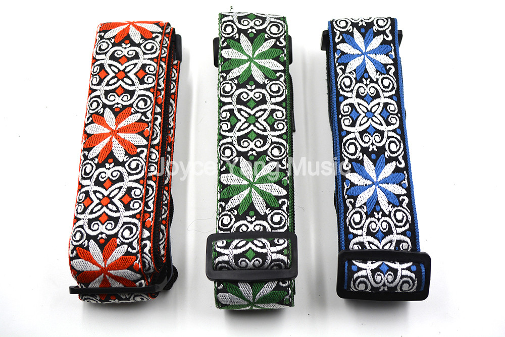 Niko Red/BLue/Green Flowers Acoustic Electric Guitar Bass Strap Nylon Embroidery Fabrics Leather Ends Strap Free Shipping