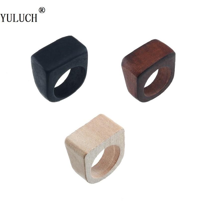 Кольца YULUCH из натурального дерева, 3 цвета, геометрические, в богемском стиле, деревянные кольца для женщин и девушек, для вечеринки, выпускн...