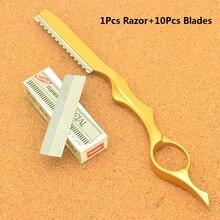 Парикмахерская Бритва для стрижки волос, стальная Парикмахерская, истончение, инструменты для бритья, бритва 10 шт., лезвия для выскабливания бровей, ножи HC0007