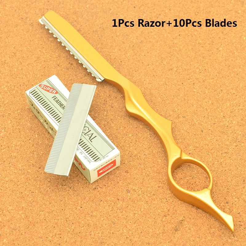 Hairdresser's Hair Cutting Razors Steel Barber Salon Thinning Tools Shaving Razor 10pcs Blades Scraping Eyebrow Knifes HC0007
