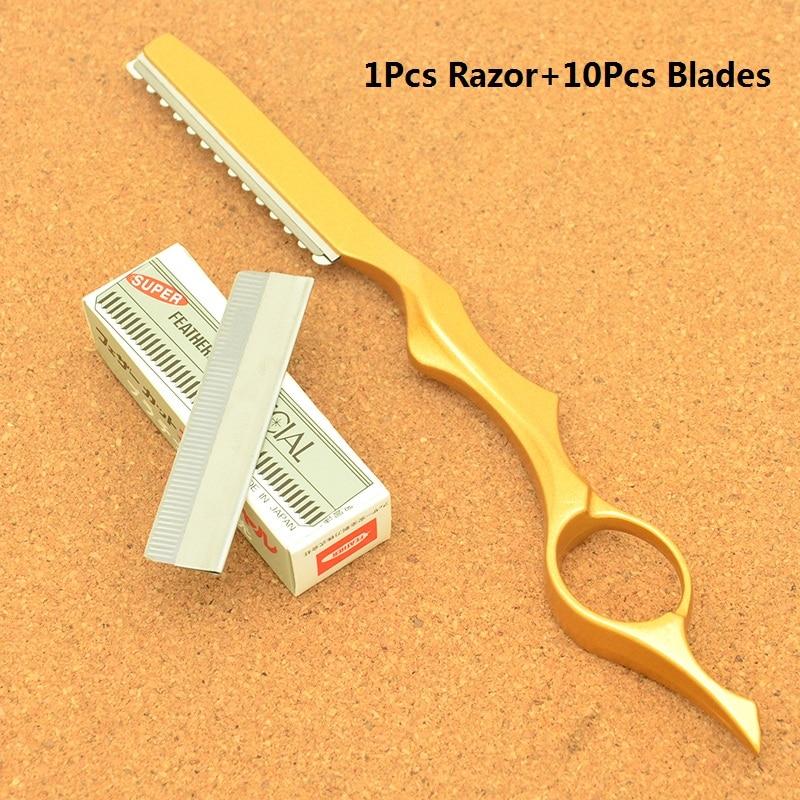 Hairdresser's Hair Cutting Razors Steel Barber Salon Thinning Tools Shaving Razor 10pcs Blades Scraping Eyebrow Knifes HC0007