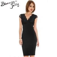 Wrap Neckline Black Floral Lace Pencil Elegant Dress Cap Sleeve V Neck Semi Formal Dress High