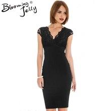 Wrap Neckline Black Floral Lace Pencil Elegant Dress Cap Sleeve V Neck Semi Formal Dress High Waist Bodycon Women Dress 2016