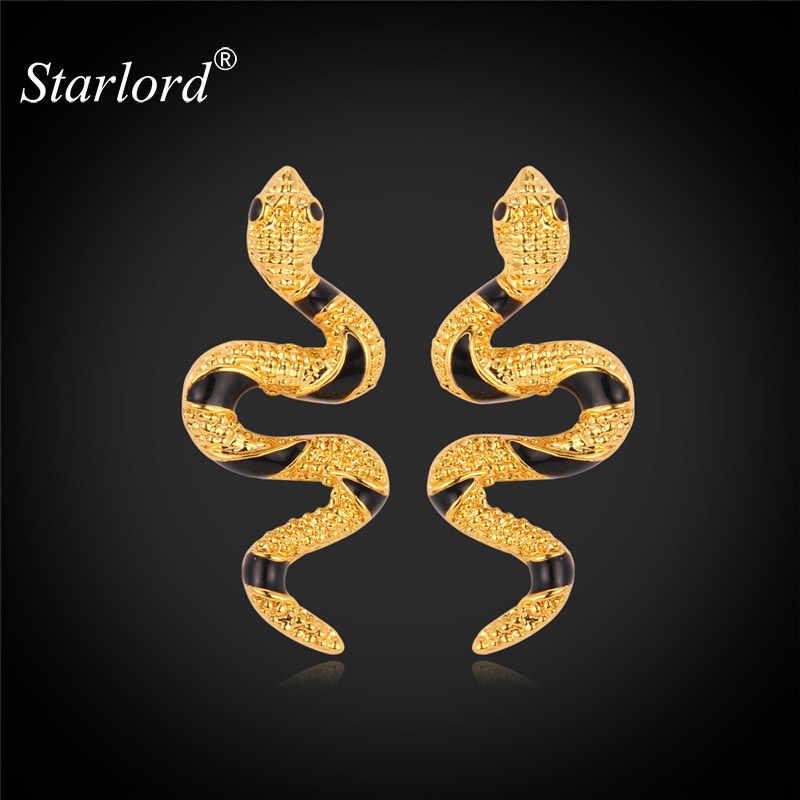 Starlord ต่างหูน่ารักสัตว์งูทองสีดำแฟชั่นของขวัญเครื่องประดับสำหรับต่างหู E2270