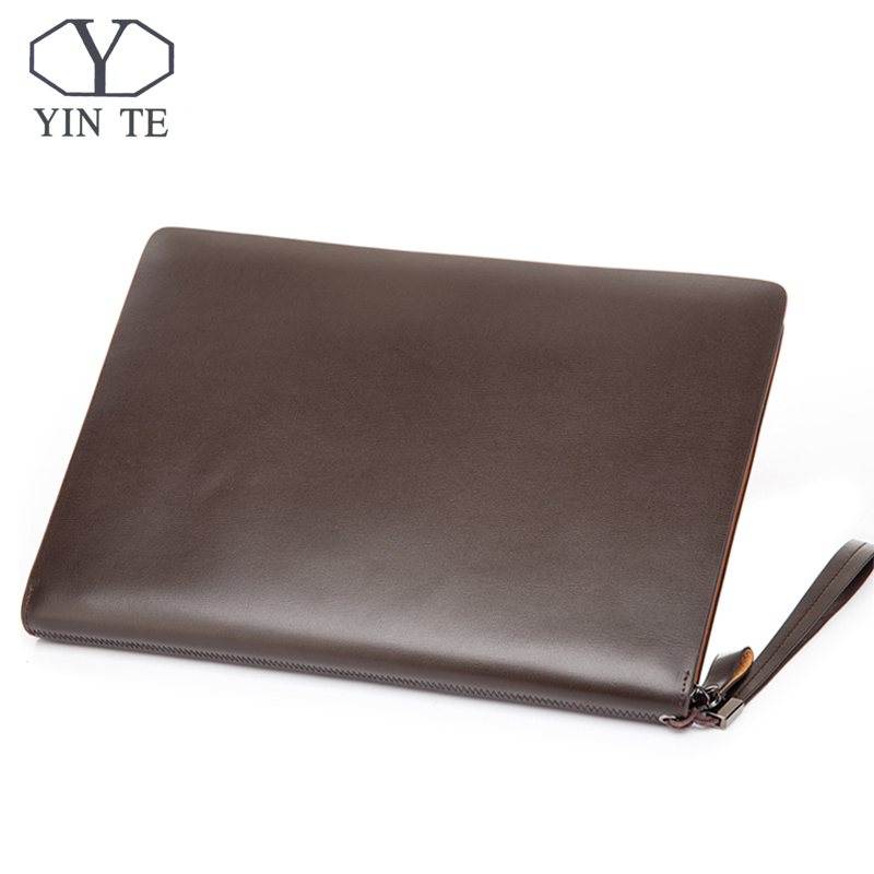 YINTE Men's Leather File Folder Bag A4 Paper Leather File Document Folder Clutch Wallets Business Zipple Bag Portfolio T5480A hua jie pu leather portfolio pocket folder card holders a4 paper file document organizer bag for meeting menu covers restaurants