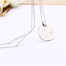 2017 Stainless Steel Girl Necklaces Long Women Round Pendant Tif Brand Jewelry Fashion Gold Filled Rose Gold Clothes Accessories