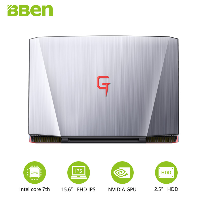 BBEN G16 laptop for gaming 15.6 inch fast running 32GBRAM+256GB SSD+2TB HDD 1920x1080 FHD wifi IPS screen i7 7700HQ notebook image