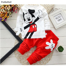 цены Baby Boys Clothes Spring Autumn Cartoon Leisure Long Sleeved T-shirts + Pants Newborn Baby Girl Clothes Kids Bebes Suits E0027