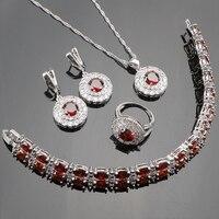 925 Bodas de Plata Rojo CZ Blanco Pequeño Cristal Austriaco Sistemas de La Joyería Para Las Mujeres Pulseras/Pendientes/Colgantes/collar/Anillo