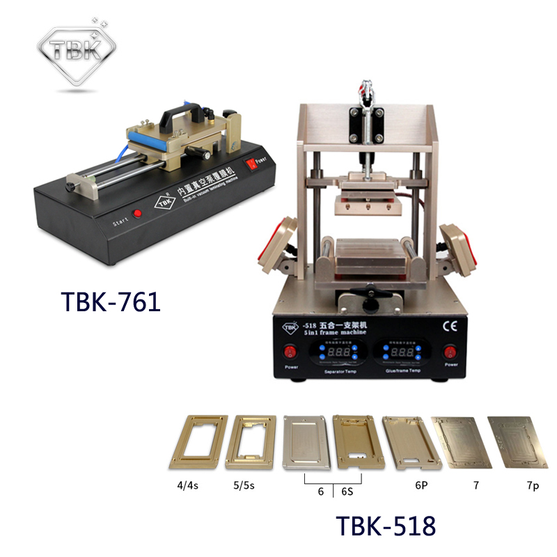 лучшая цена TBK-518 5in1 LCD Refurbish Machine Middle Bezel Separator/Frame Laminating Machine + TBK-761 Built-in Vacuum Film Laminating Mac