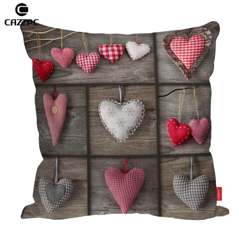 Valentine's Day Grid Red Wood Love Animal Print Linen Car Sofa Decorative Throw Pillowcase Cushion Cover Pillow Case Home Decor