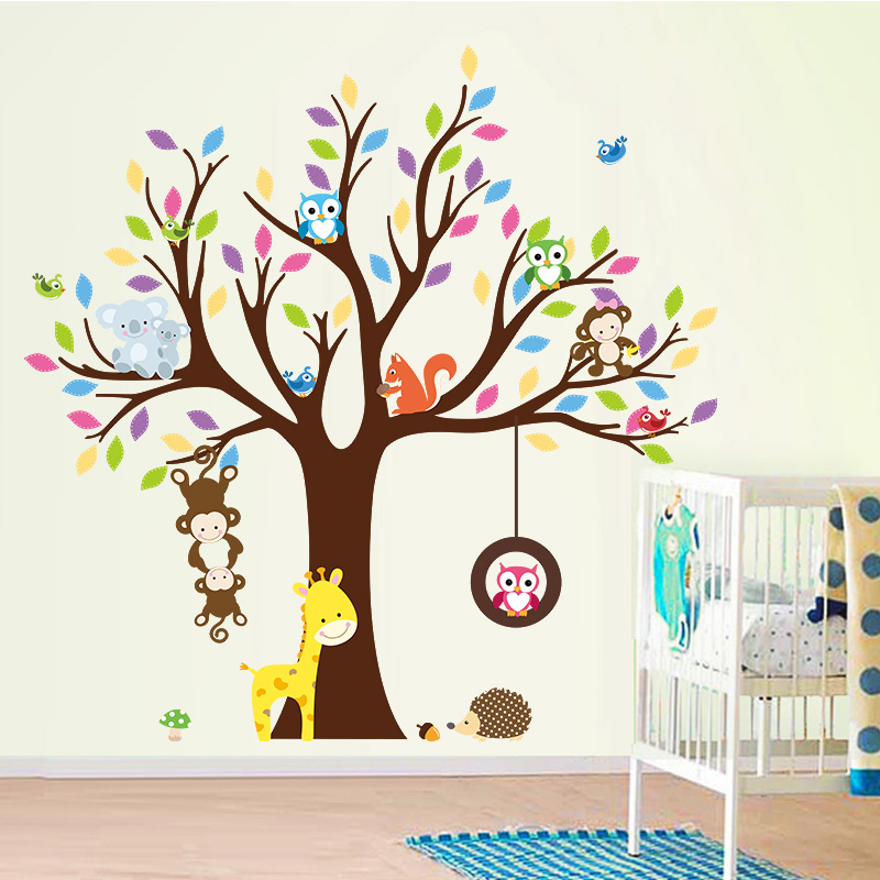 Buy monkey owl giraffe birds tree wall - Stickers muraux chambre enfant ...