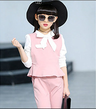 Children's clothing spring and autumn three-piece suit 2019 new casual long-sleeved pants suit 3-12 years old girls clothing set цены онлайн