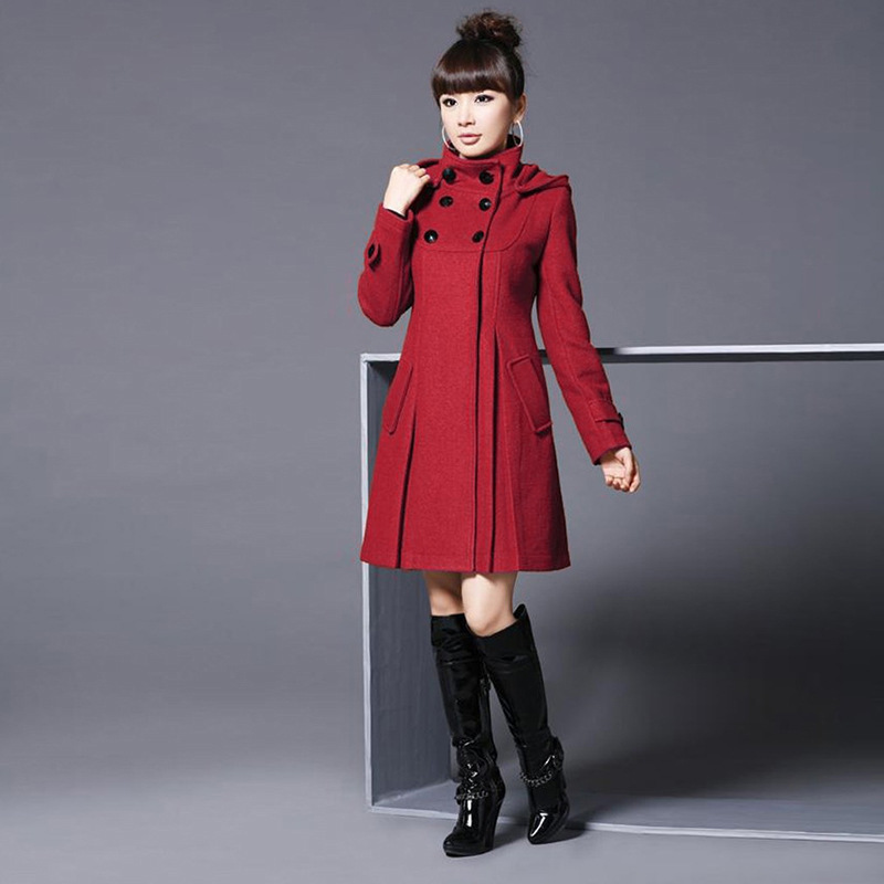 Elegant Coat for Women Pockets Casual Hooded Wool Coat and Jacket Solid Autumn Winter Women Clothes 2018 Plus Size 3XL 4XL 2