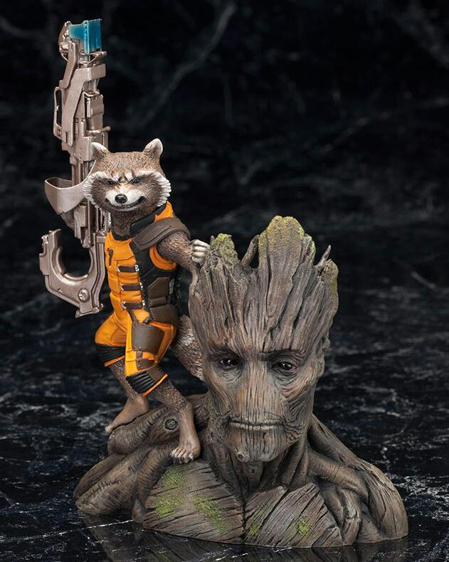 ARTFX+ Marvel Guardians of The Galaxy Avengers Rocket Raccoon & TreeMan Ver Action Figure Toys 16cm
