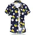 Nueva Llegada 2016 Mens Camisa de Estampado de Moda de Verano de Manga Corta Camisa de Los Hombres de Alta QualityMercerized Algodón Camisas Casuales Para Hombre 6XL