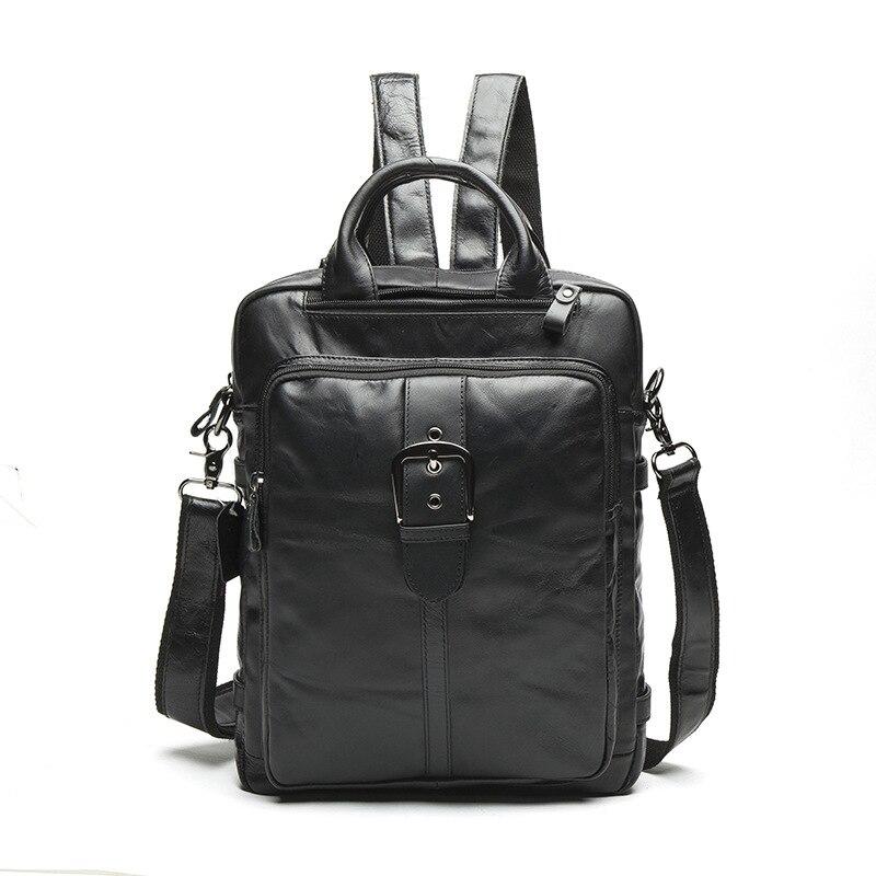 2017 Top Quality Genuine Leather Men Bag Men Backpack Fashion Male School Backpack Travel Bag Leather Multifunction Laptop Bag
