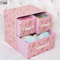 Two layer Three pump Storage Box Underwear Container Bra Sock Organizer Drawer Divider Cloth Box For Storing Underwear