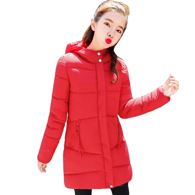 2019 Women Winter Hooded Warm Coat Slim Plus Size Solid Color Cotton Padded Basic Jacket Female Medium Long Jaqueta Feminina