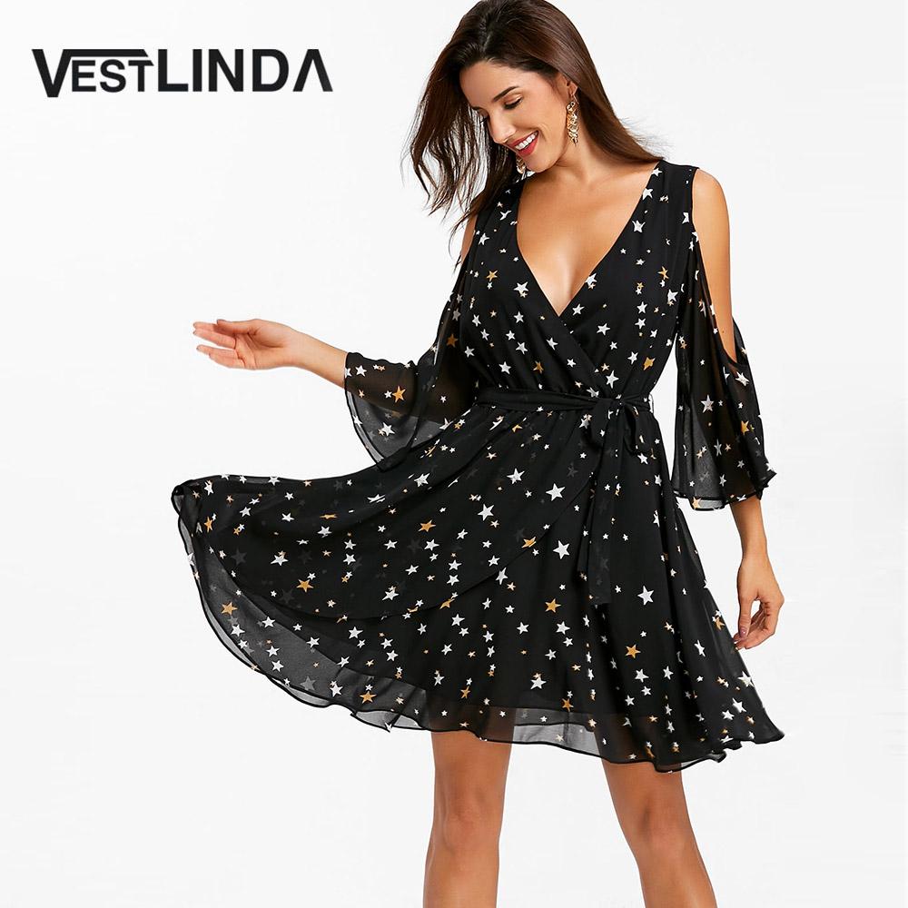 0d4202de95577 VESTLINDA Summer Dress 2018 V Neckline Cold Shoulder Star Print Elegant  Chiffon Dress Boho Beach Sundress Women Black Robe Femme