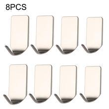 Vendita calda 8 pezzi/set In Acciaio Inox 3M Auto Adesivo Appiccicoso Ganci Da Parete Supporto Di Memorizzazione Hanger Nuovo Dropshopping Allingrosso