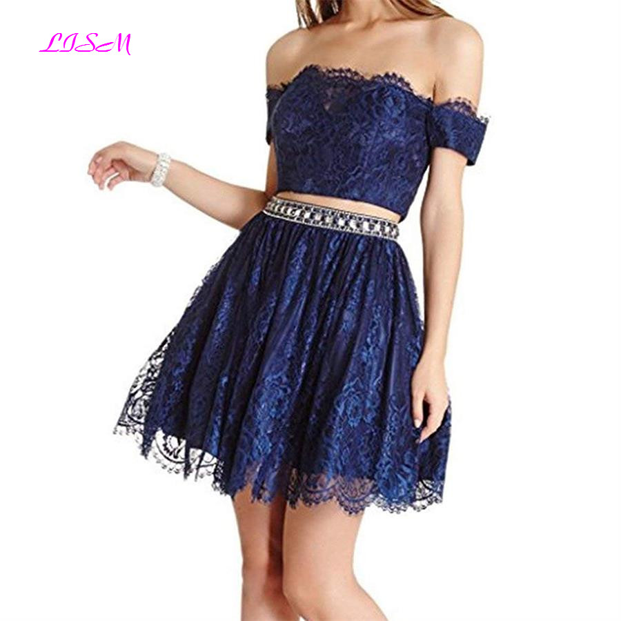 Lace   Cocktail     Dresses   Two Pieces Off the Shoulder Beaded Short Prom Gowns Mini Homecoming   Dresses   vestidos de graduacion 2019