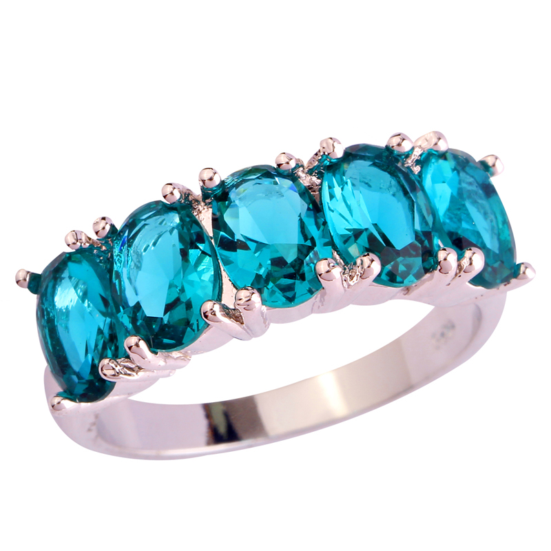 Fashion Jewelry Oval Gems Green Silver Plated Ring Size 6 7 8 9 10 Women Man Rings Free Shipping Wholesale