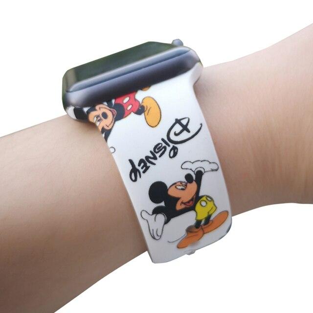 Спортивный силиконовый ремешок для Apple Watch 38 мм 42 40 44 мягкий ремешок с Микки Маусом женщина для мужчин браслет iwatch серии 4 3 2 1