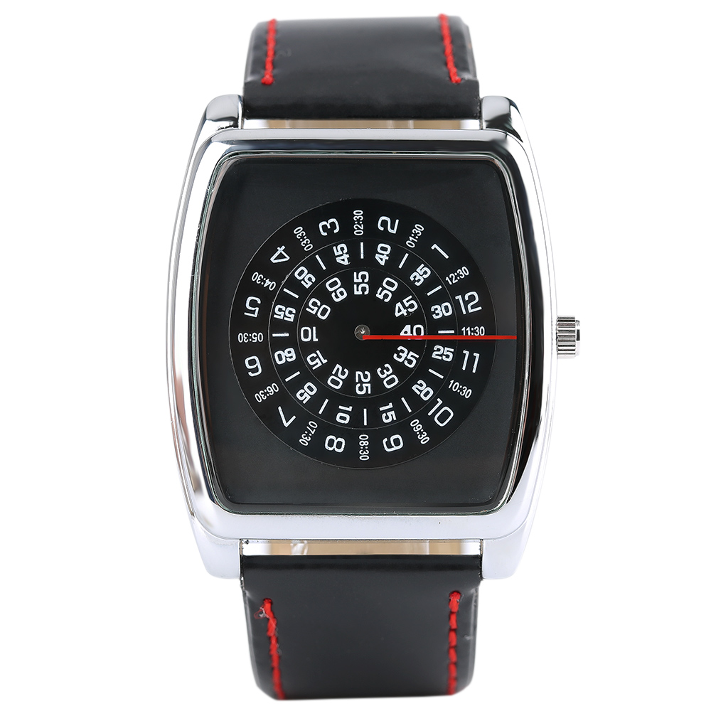 Fashion Black Turntable Rectangle Dial Quartz Sport Wrist Watch Black PU Leather Boy Men Creative Digital Watches fashion black turntable rectangle dial quartz sport wrist watch black pu leather boy men creative digital watches