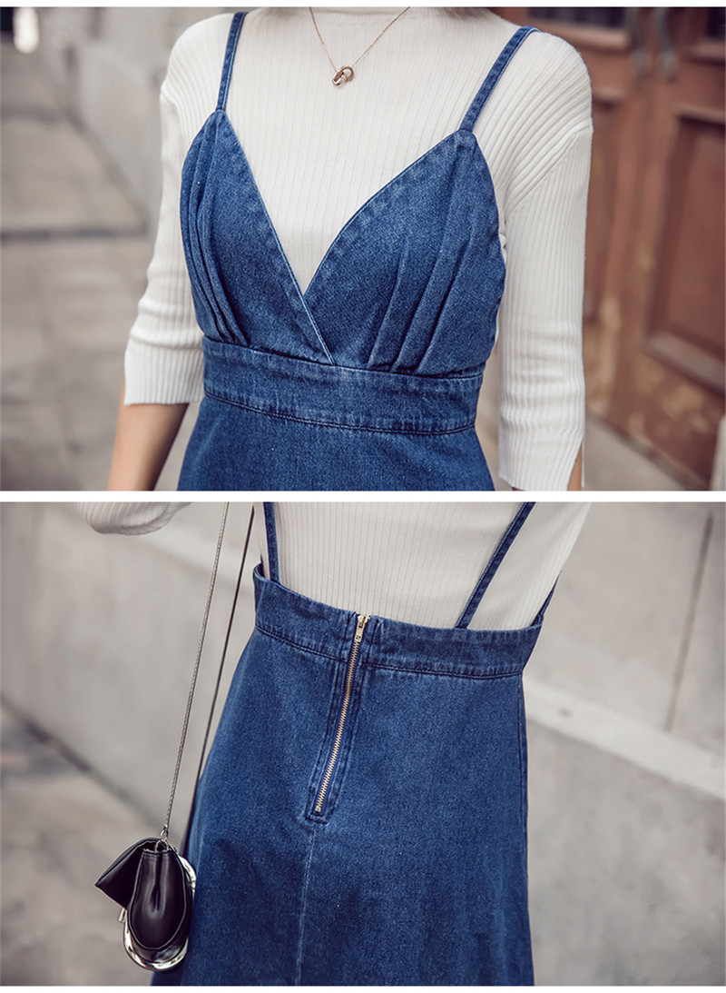 HTB1yzghfnnI8KJjy0Ffq6AdoVXa2 - HziriP 2018 New Arrival Women Denim Dress Fashion Casual Ankle-Length desses for Ladies Spaghetti Strap Bodycon Vestido Female