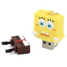 USB Stick Cartoon Spongebob USB 2.0 USB Flash Drive Pen Drive 8GB 16GB 32GB 64GB USB Stick Memory PenDrive U Disk Creative Gift