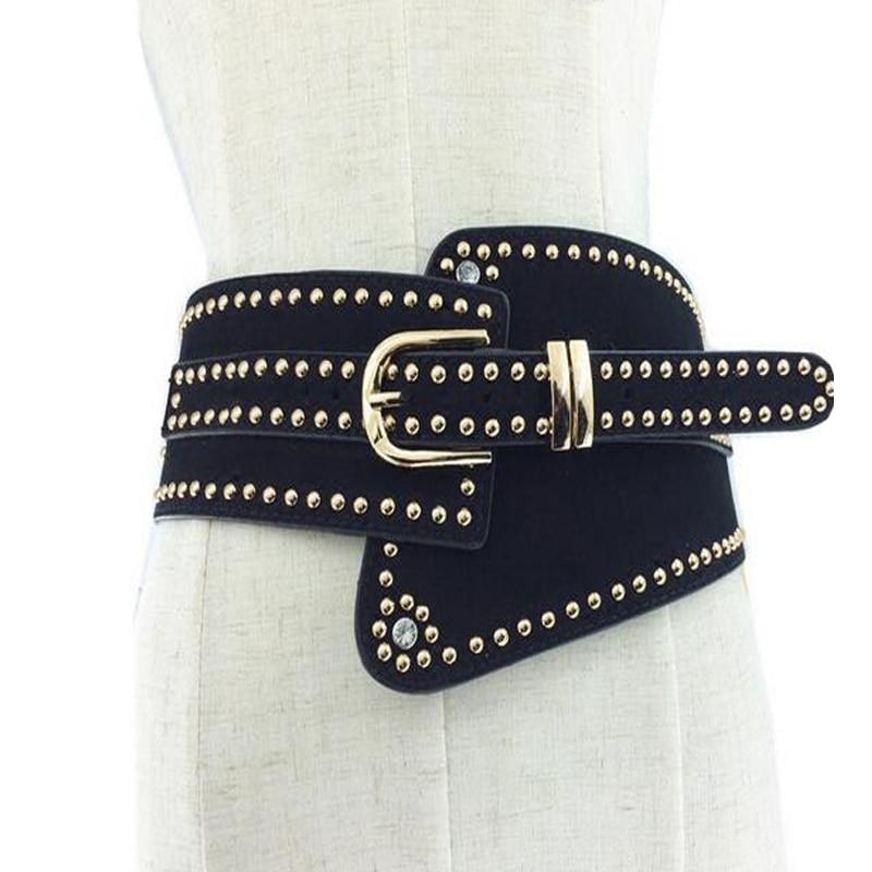 2019 Metal Rivet Wide Studs Beaded PU Leather Belts Pin Buckle Women High Quality Cummerbund Strap Belt Waist Female Accessories